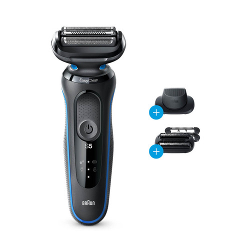 Electric Shaver, Series 5, Blue with precision trimmer and stubble beard attachments, 5035s