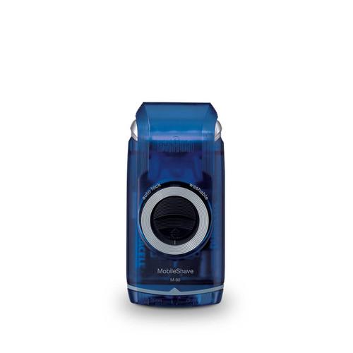 MobileShave Shaver, Transparent Blue with twist cap, M-60