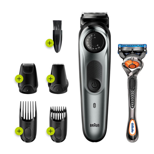 Beard Trimmer 7 for Face and Hair, Black/Grey with precision dial, and Gillette Fusion5 ProGlide razor, BT7220