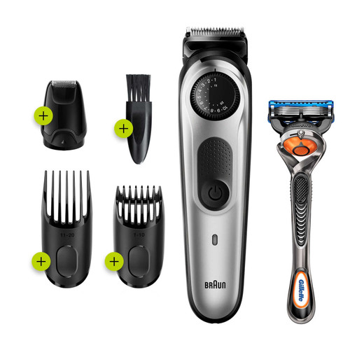 Beard Trimmer 5 for Face and Hair, Black/Silver with precision dial, and Gillette Fusion5 ProGlide razor, BT5265