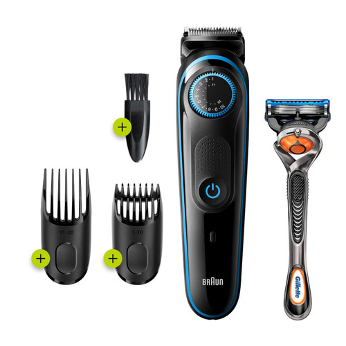 Beard Trimmer 5 for Face and Hair, Black/Blue with precision dial, and Gillette Fusion5 ProGlide razor, BT5240