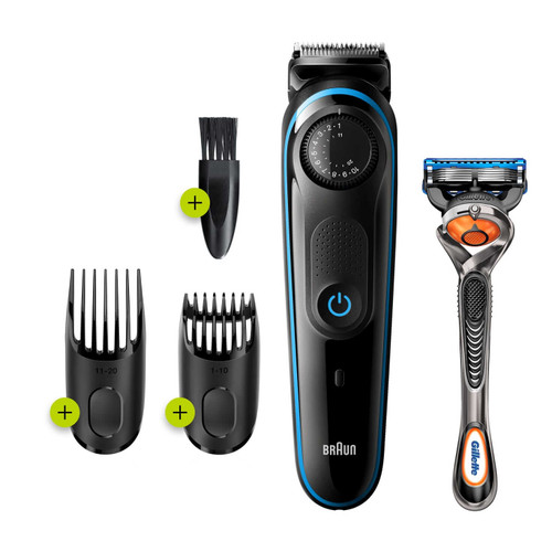 Beard Trimmer 3 for Face and Hair, Black/Blue with precision dial, and Gillette Fusion5 ProGlide razor, BT3240