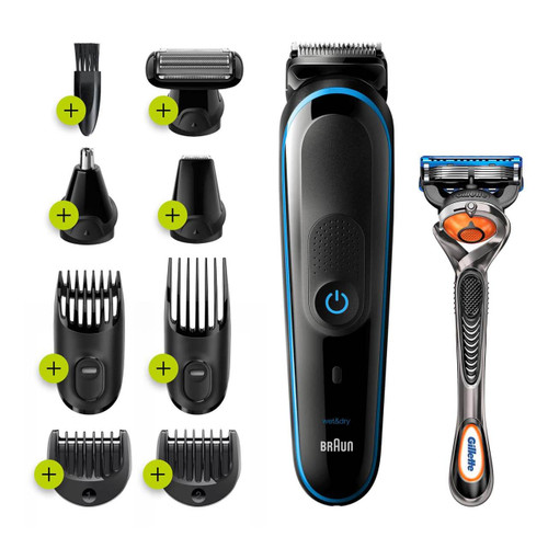 All-in-one trimmer 5 for Face, Hair, and Body, Black/Blue 9-in-1 styling kit with Gillette Fusion5 ProGlide razor, MGK5280
