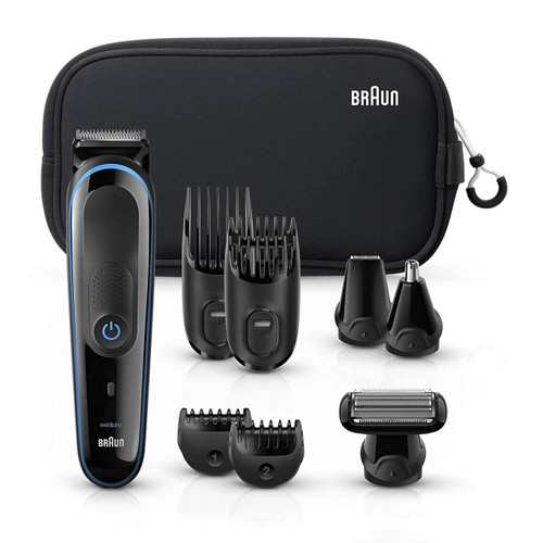 All-in-one trimmer 3 for Face, Hair, and Body, Black/Blue 9-in-1 styling kit with Gillette Fusion5 ProGlide razor, MGK3980