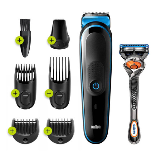 All-in-One trimmer 3 for Face, Hair, and Body, Black/Blue 7-in-1 styling kit with Gillette Fusion5 ProGlide razor, MGK3245