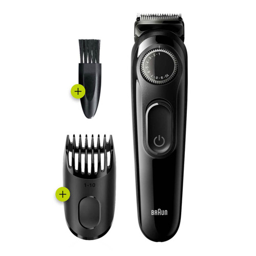 Beard Trimmer 3 for Face and Hair, Black/Grey with precision dial, BT3222