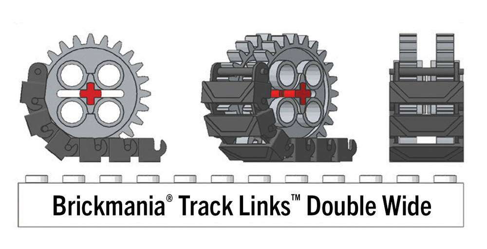 Brickmania® Track Links™ V2 - Chevron Double Wide - Black - x150