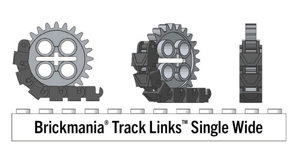 Brickmania® Track Links™ V2 - Chevron Single Wide - Steel - x200