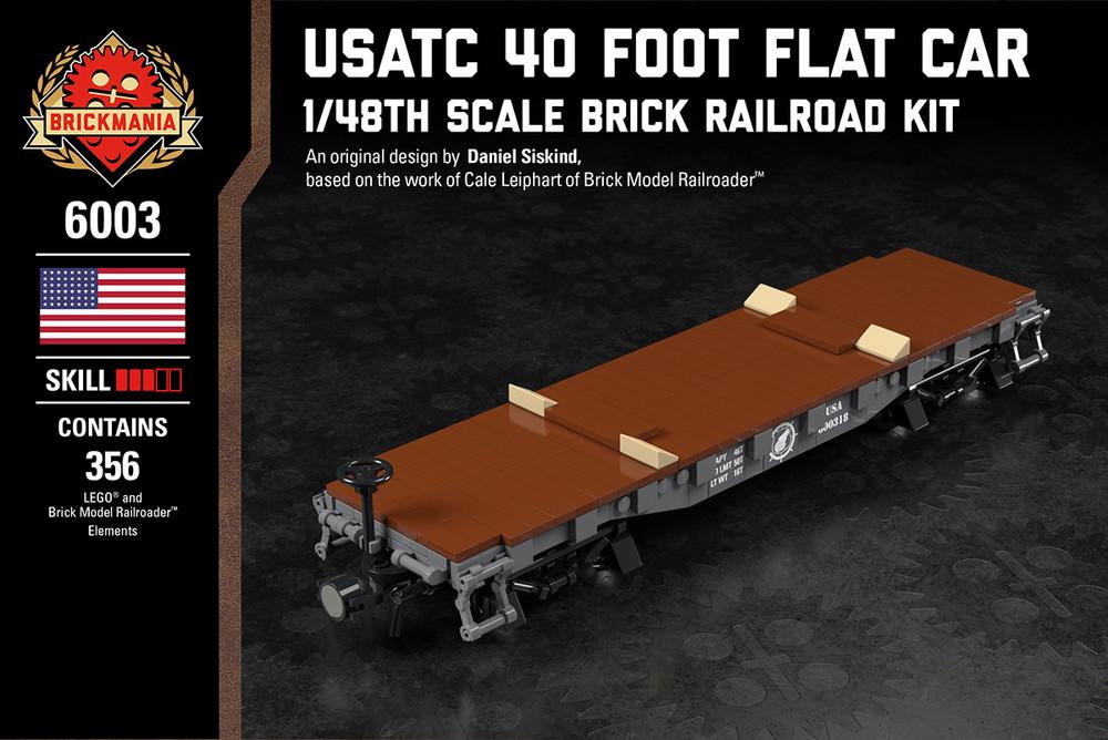 USATC 40 Foot Flat Car - 1/48th Scale Brick Railroad Kit