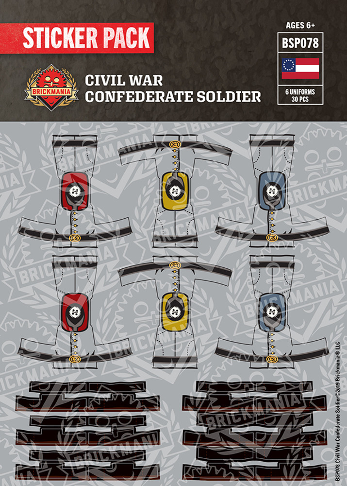 Civil War Confederate Soldier Sticker Pack