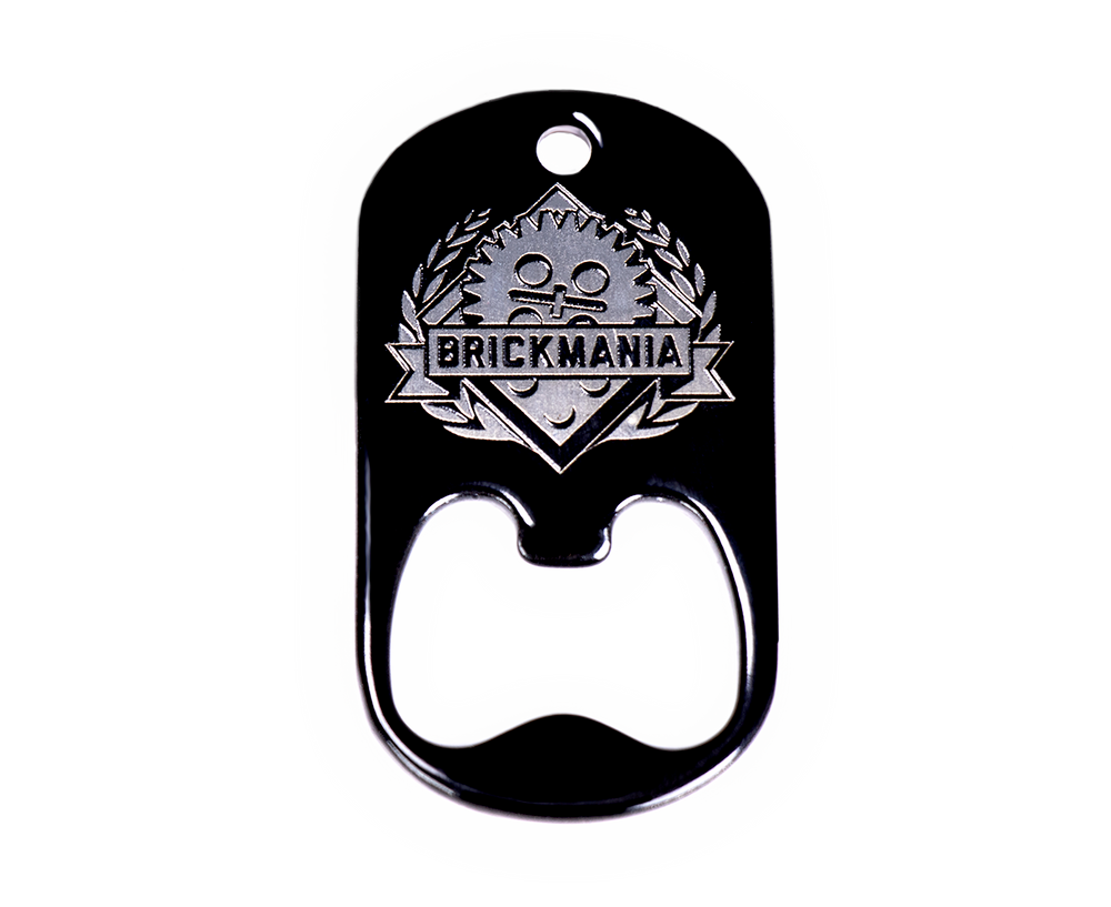 Dog Tag Bottle Opener with Brickmania Shield (white)