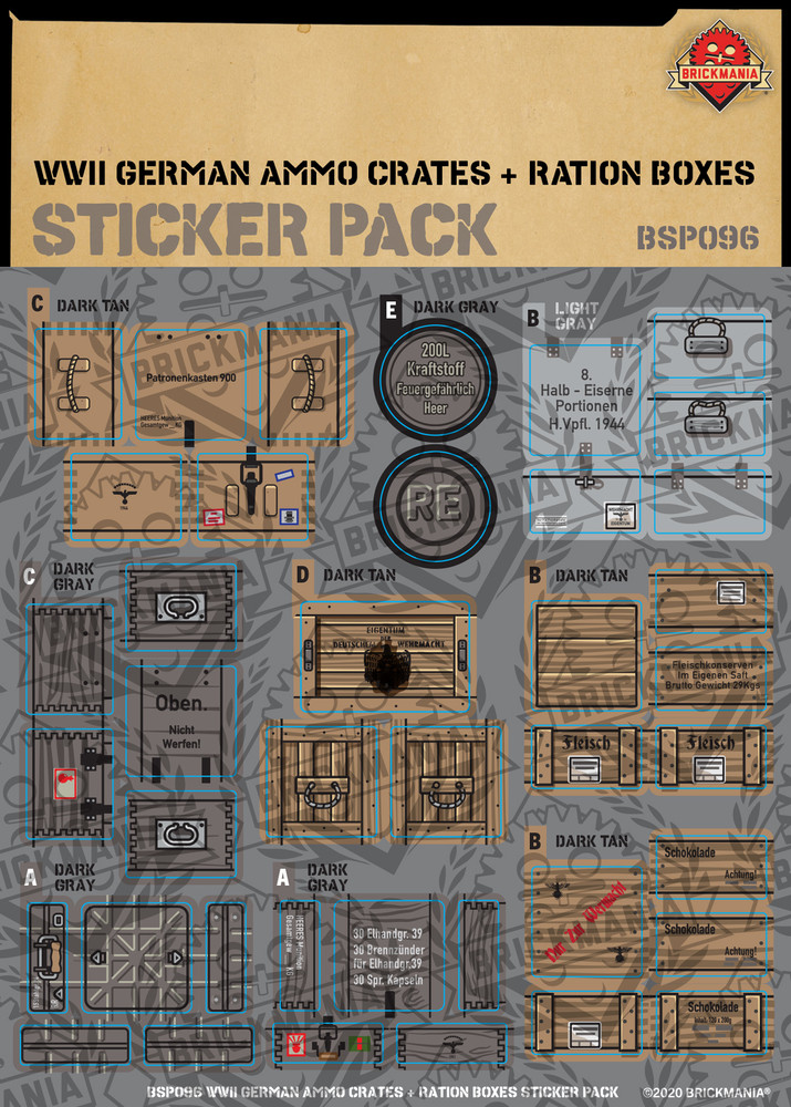 WWII German Ammo Crates and Ration Boxes - Sticker Pack