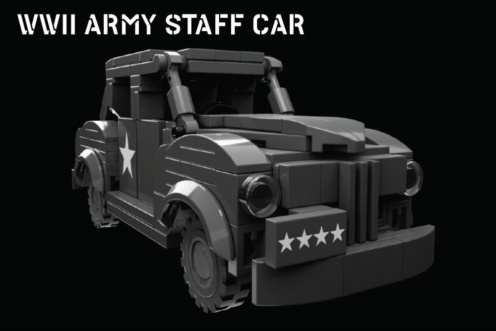 WWII Army Staff Car with General and Driver