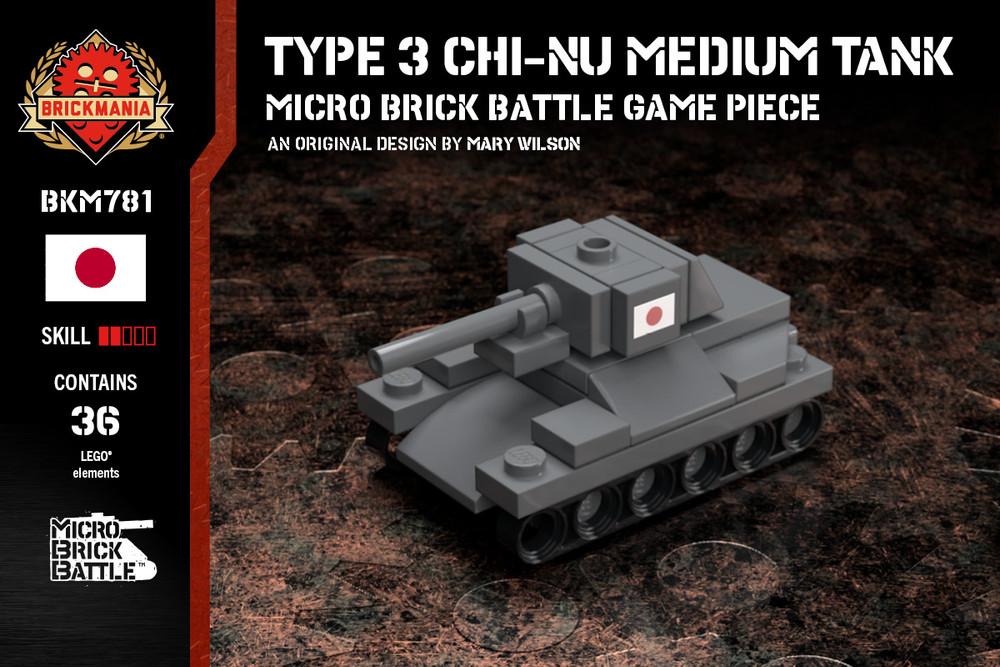 Type 3 Chi-Nu Medium Tank - Micro Brick Battle Game Piece