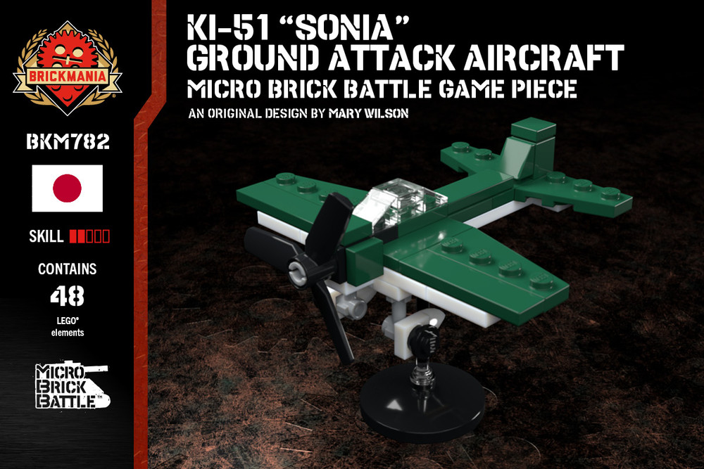 "Ki-51 ""Sonia"" Ground Attack Aircraft - Micro Brick Battle Game Piece"