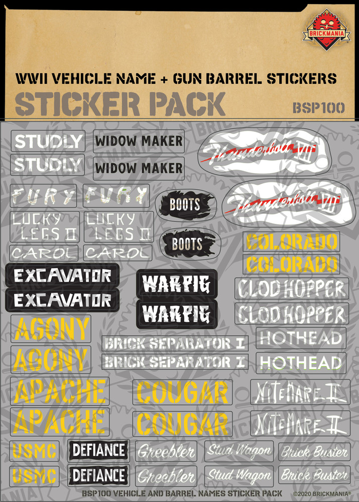 WWII Vehicle Name & Gun Barrel Print - Sticker Pack