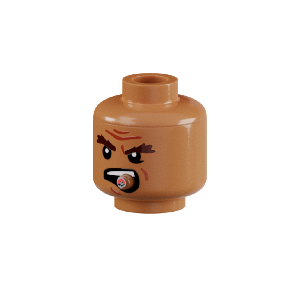 Minifig Head - Head Male with Cigar