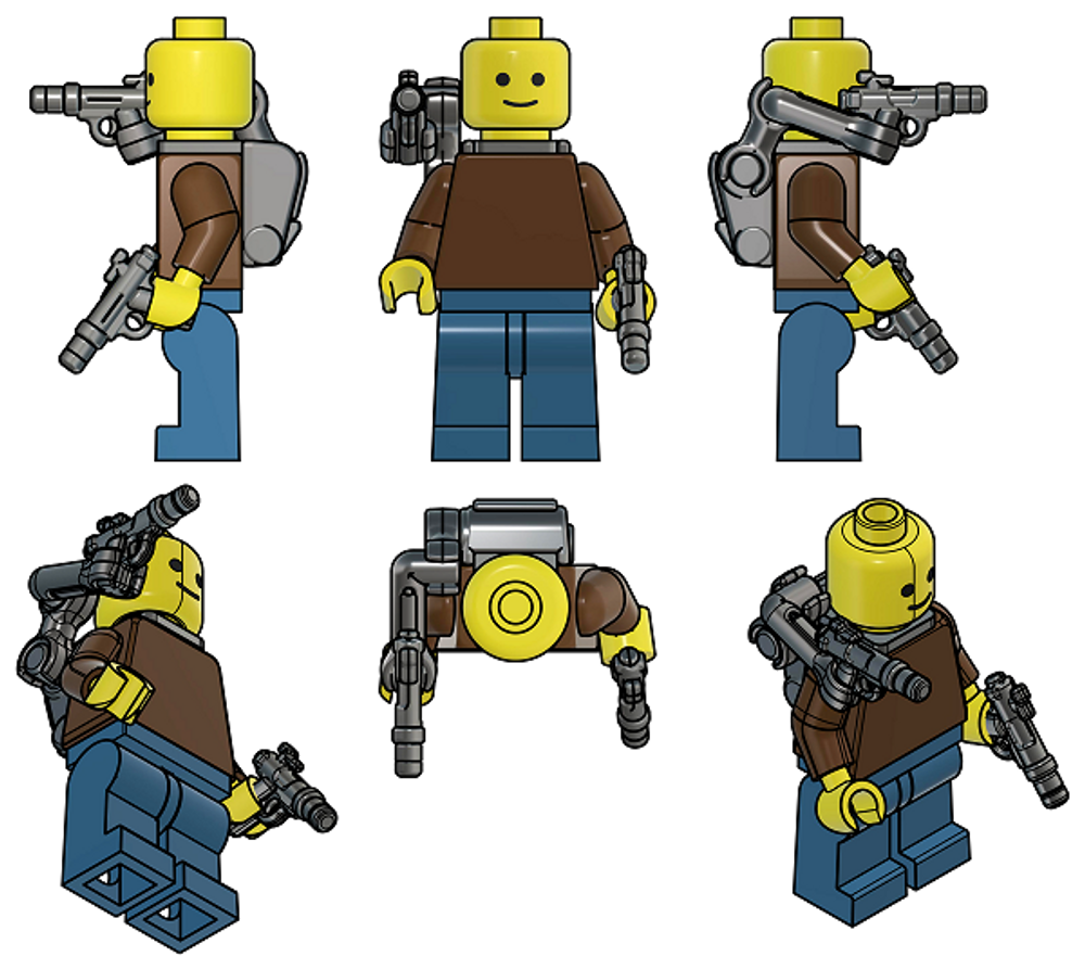 BrickArms®  Exo-Pack : Extendable Arm w/5 Blasters