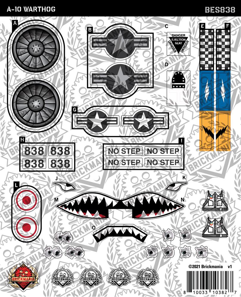 A-10 Warthog (BKE838) - Sticker Pack