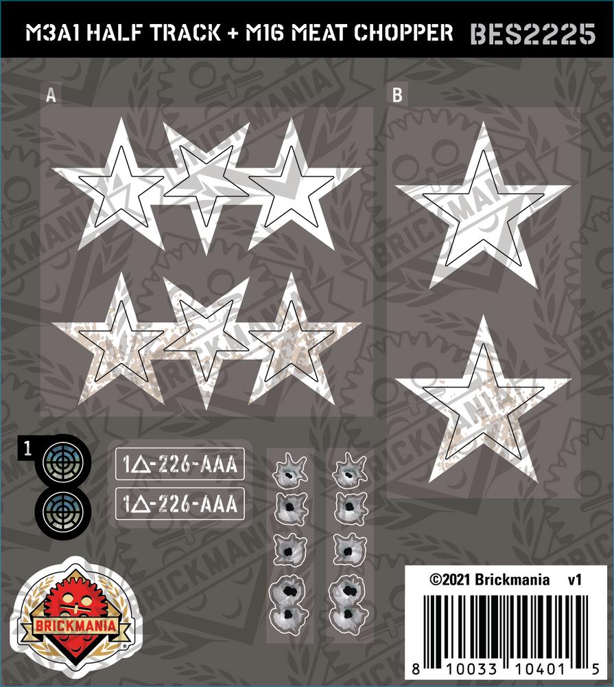 M3A1 Half Track + M16 Meat Chopper (BKE2225) - Sticker Pack