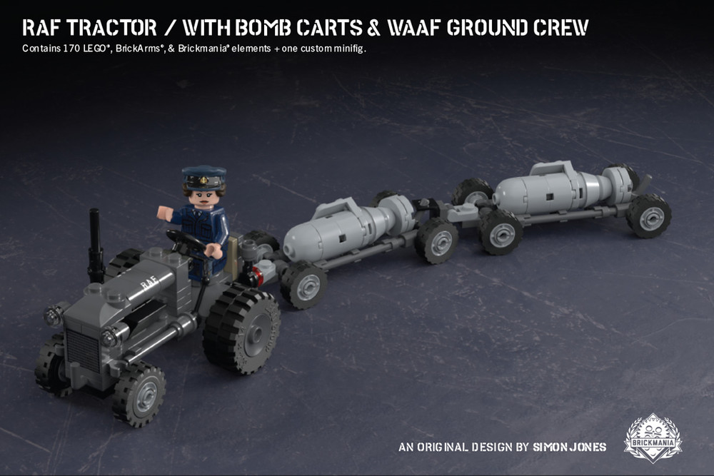 RAF Tractor with Bomb Carts & WAAF Ground Crew