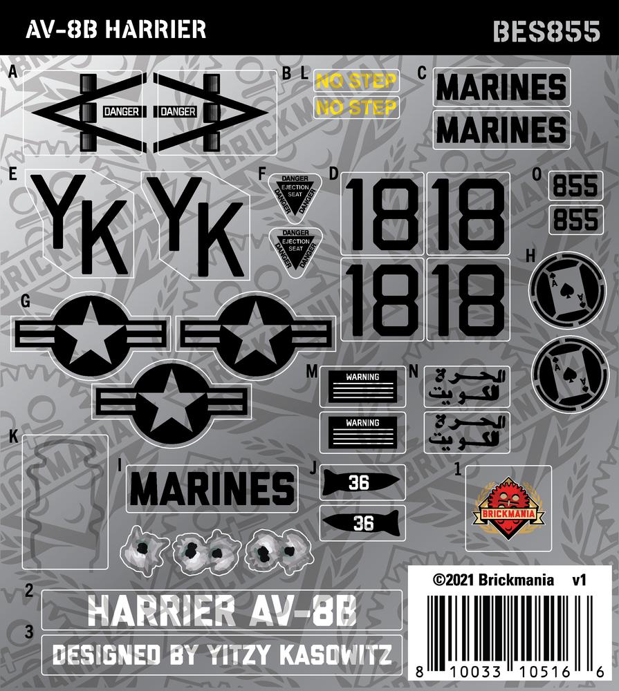 AV-8B Harrier (BKE855) - Sticker Pack