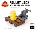 Pallet Jack with Pallet & Oil Drum