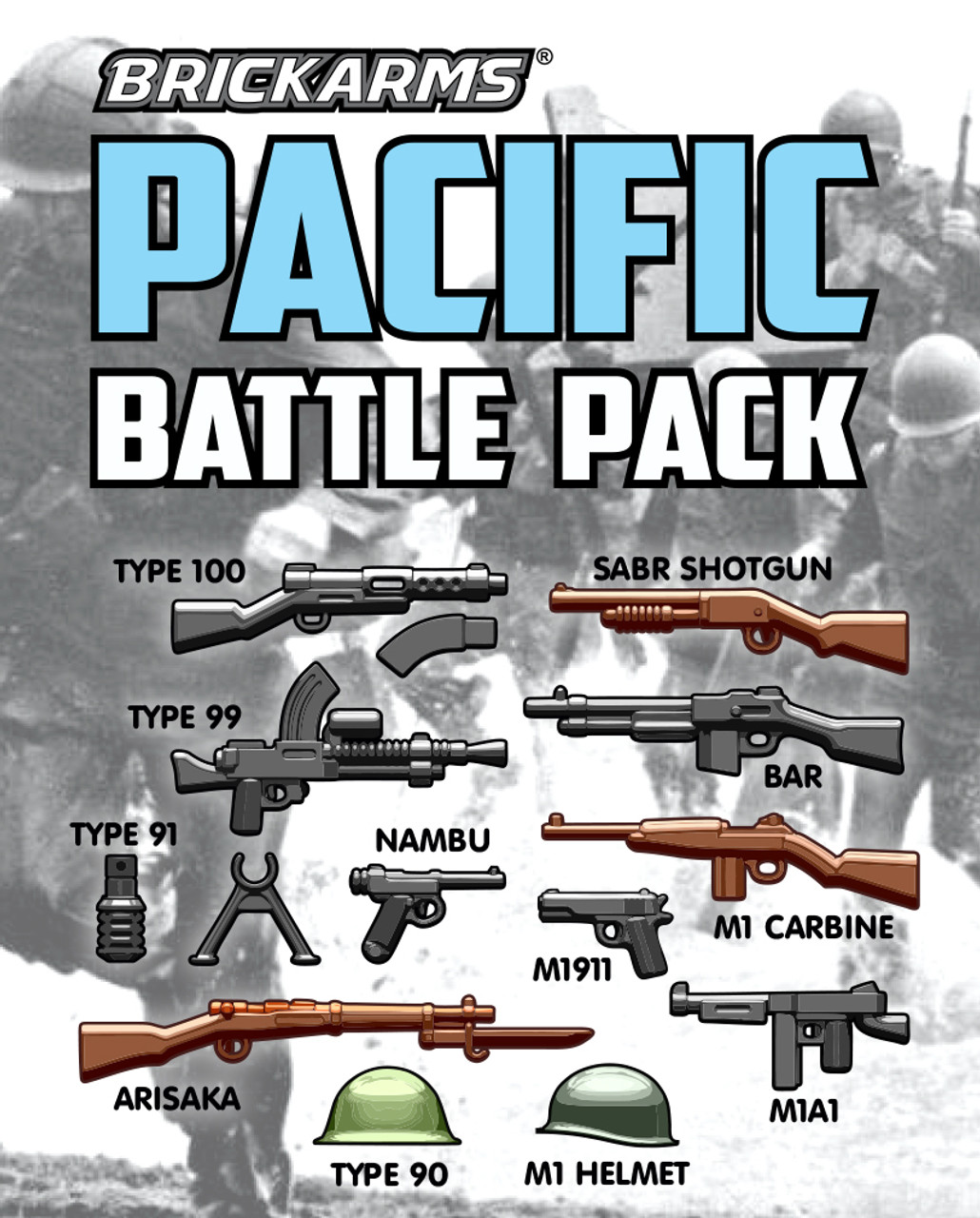 BrickArms Pacific Battle Pack for World War 2 designed for LEGO Minifigure