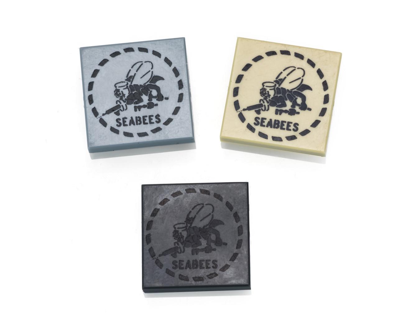Custom Printed Seabees Logo 2x2 LEGO Tile
