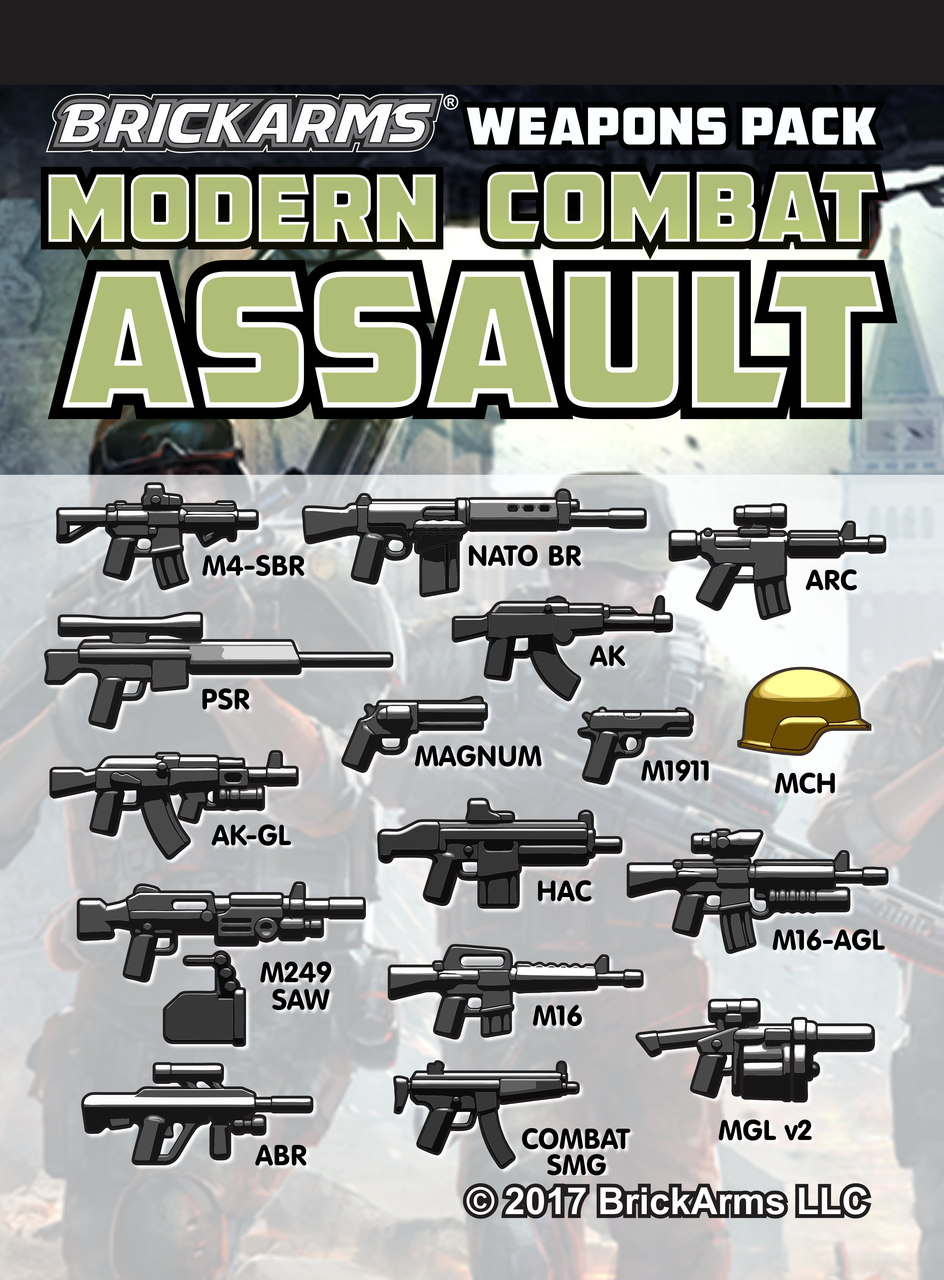 Assault Rifle Pack of Army weapons designed for LEGO® minifigures P2