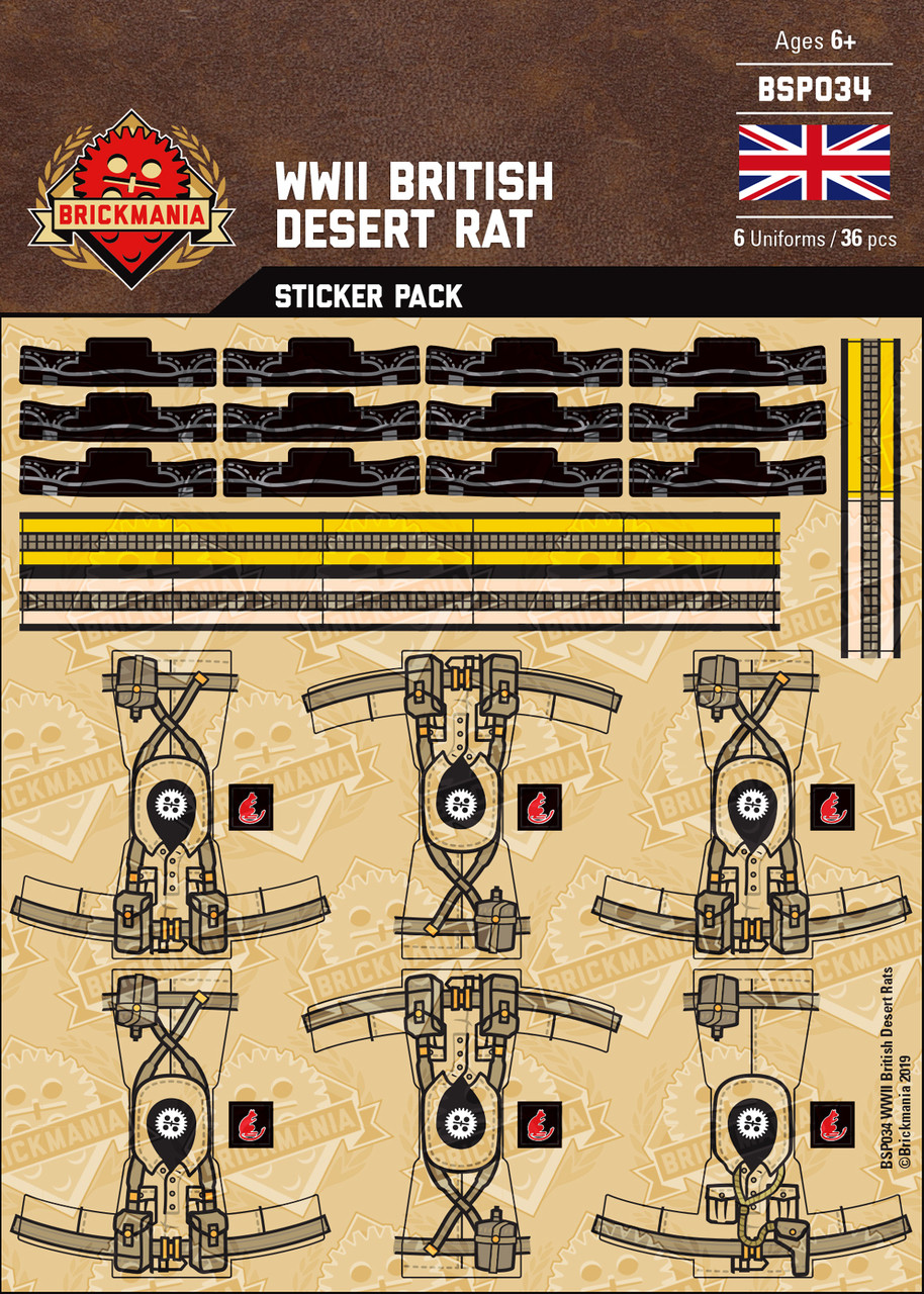 WWII British Desert Rat Sticker Pack
