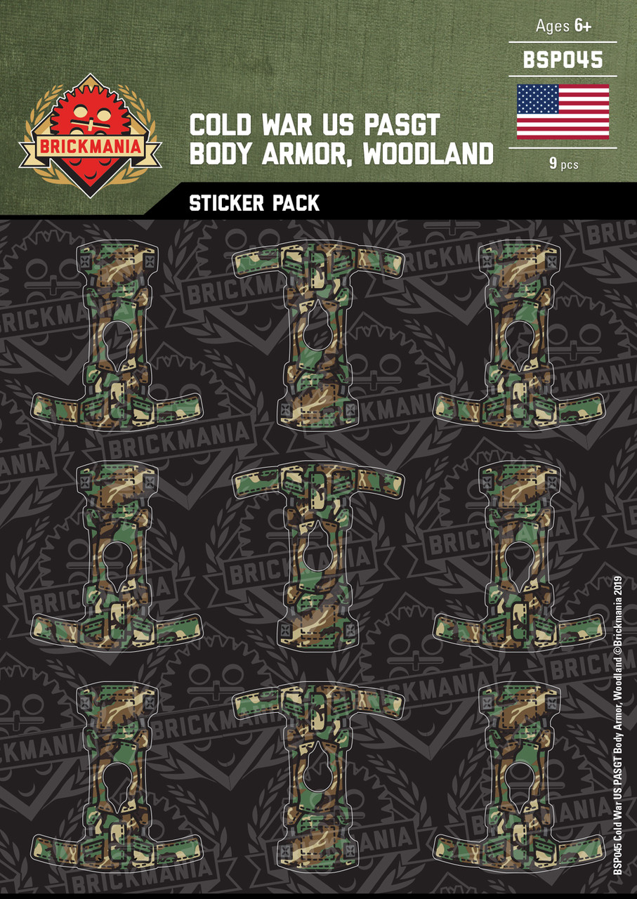 Cold War US PASGT Body Armor, Woodland - Sticker Pack