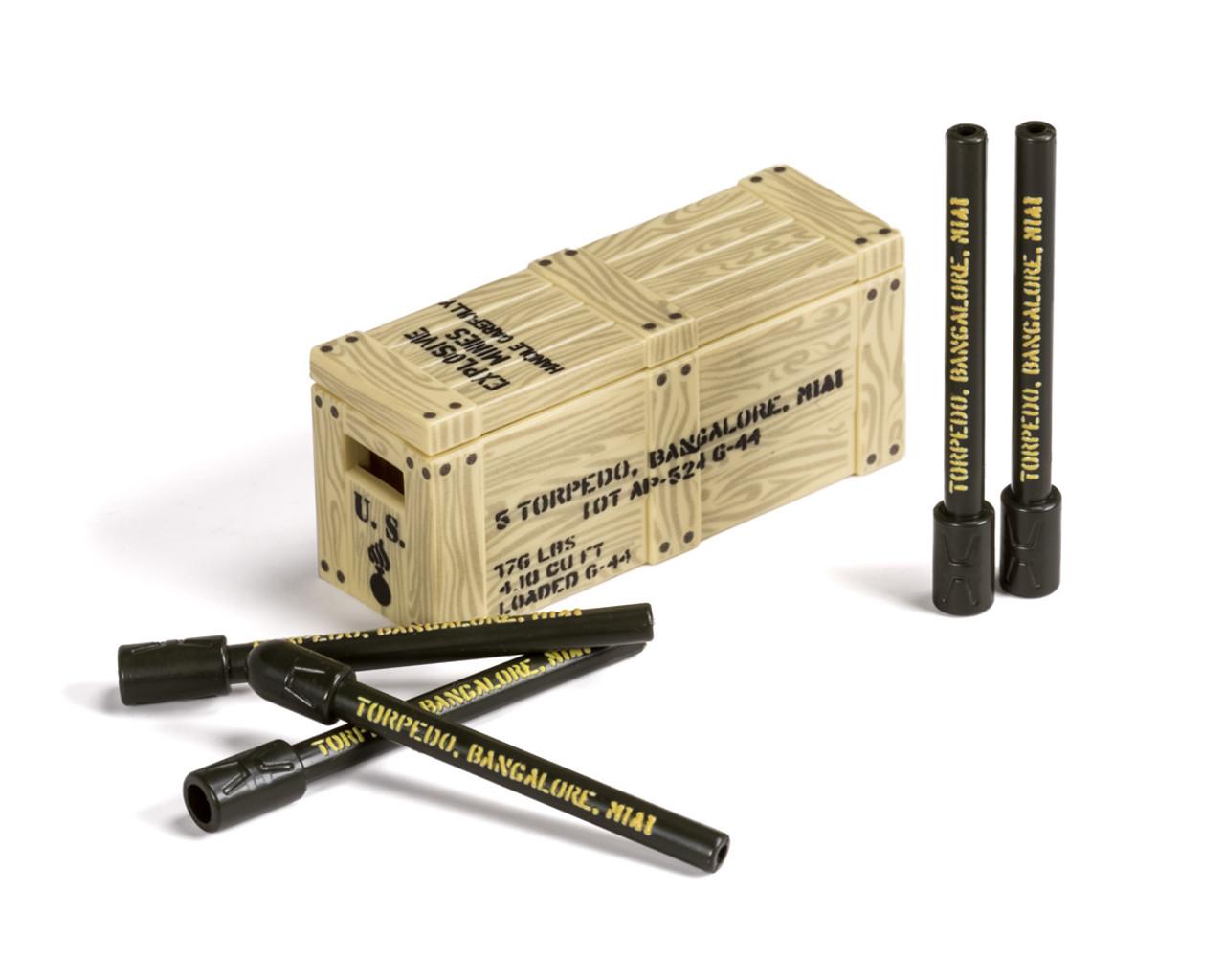 BrickArms® Bangalore Torpedo Crate V2 - woodgrain crate & printed torpedos