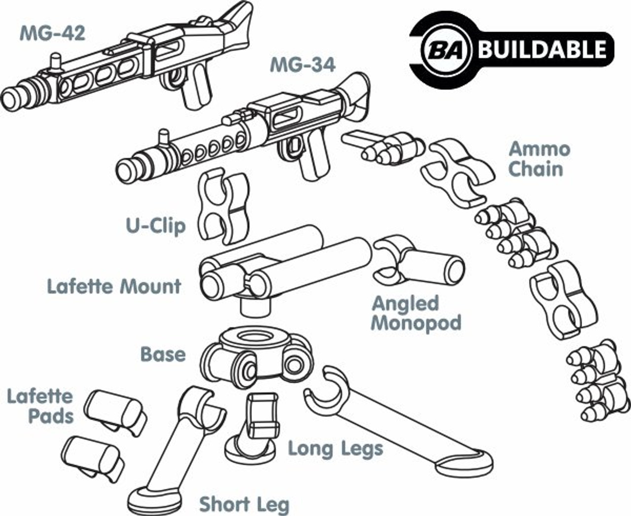 BrickArms German Tripod w/MG-34 & MG-42