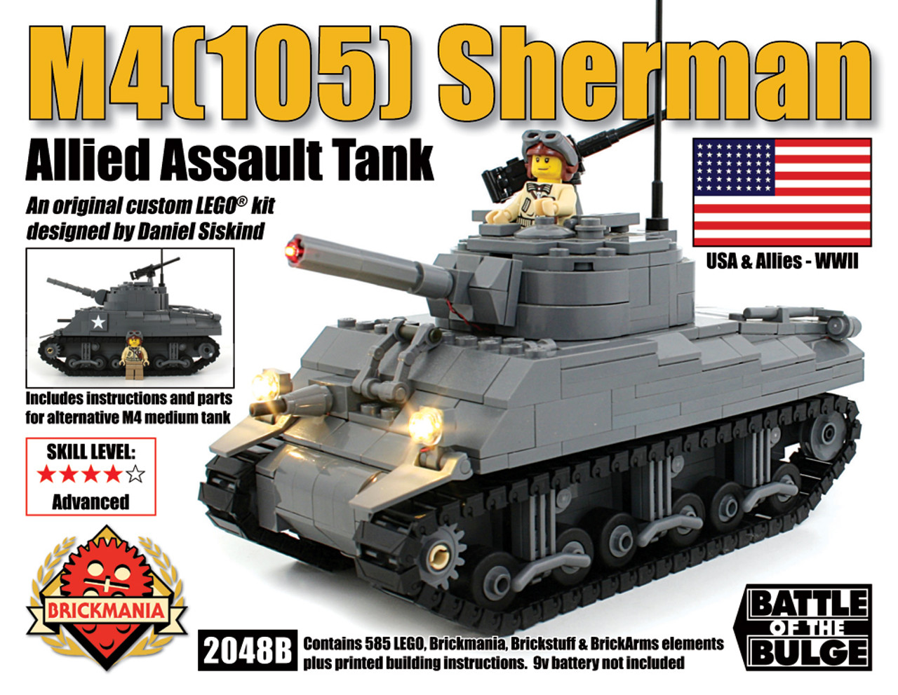 CUSTOM building INSTRUCTION Sherman battle tank to build out of LEGO® parts
