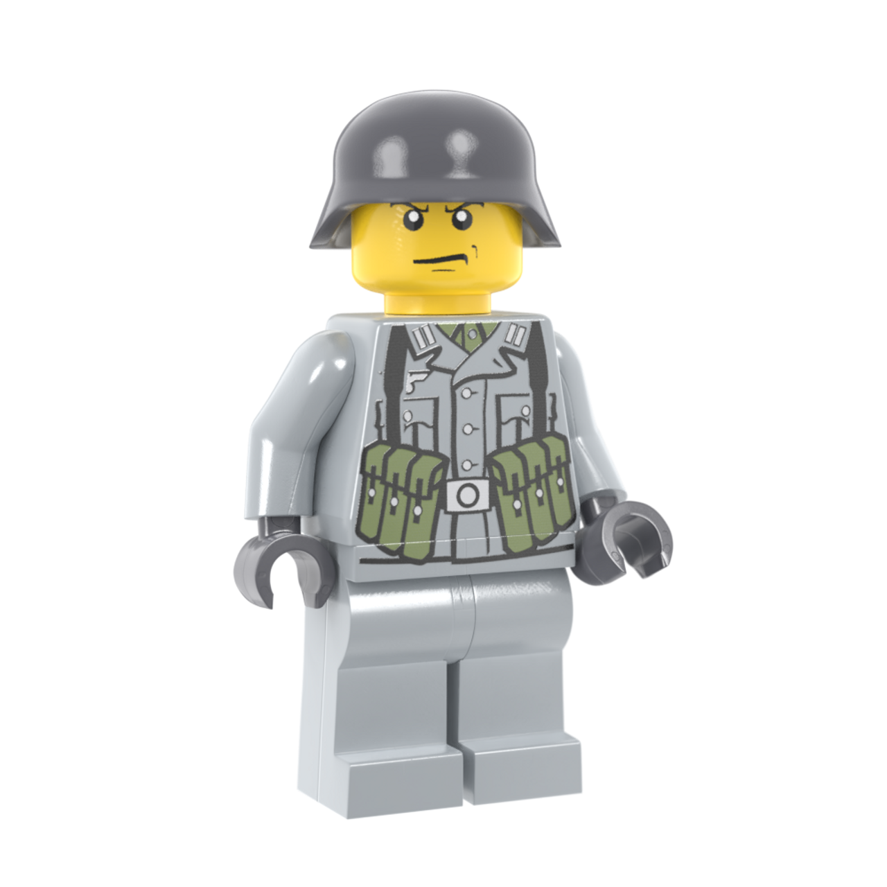 WWII German Soldier with MP40 Pouches - Light Gray
