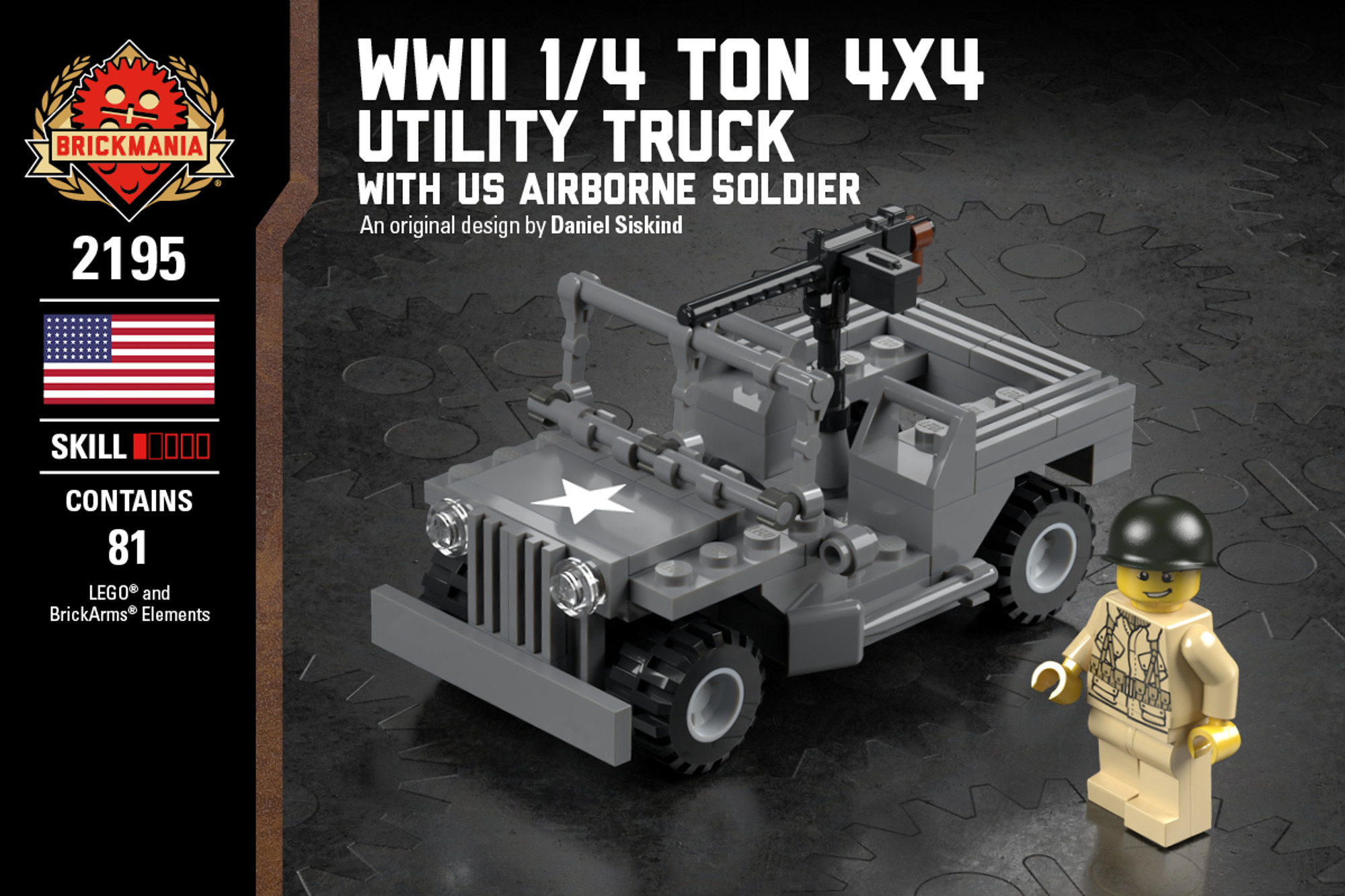 Wwii 1 4 Ton 4x4 Utility Truck With Us Airborne Soldier Brickmania Toys