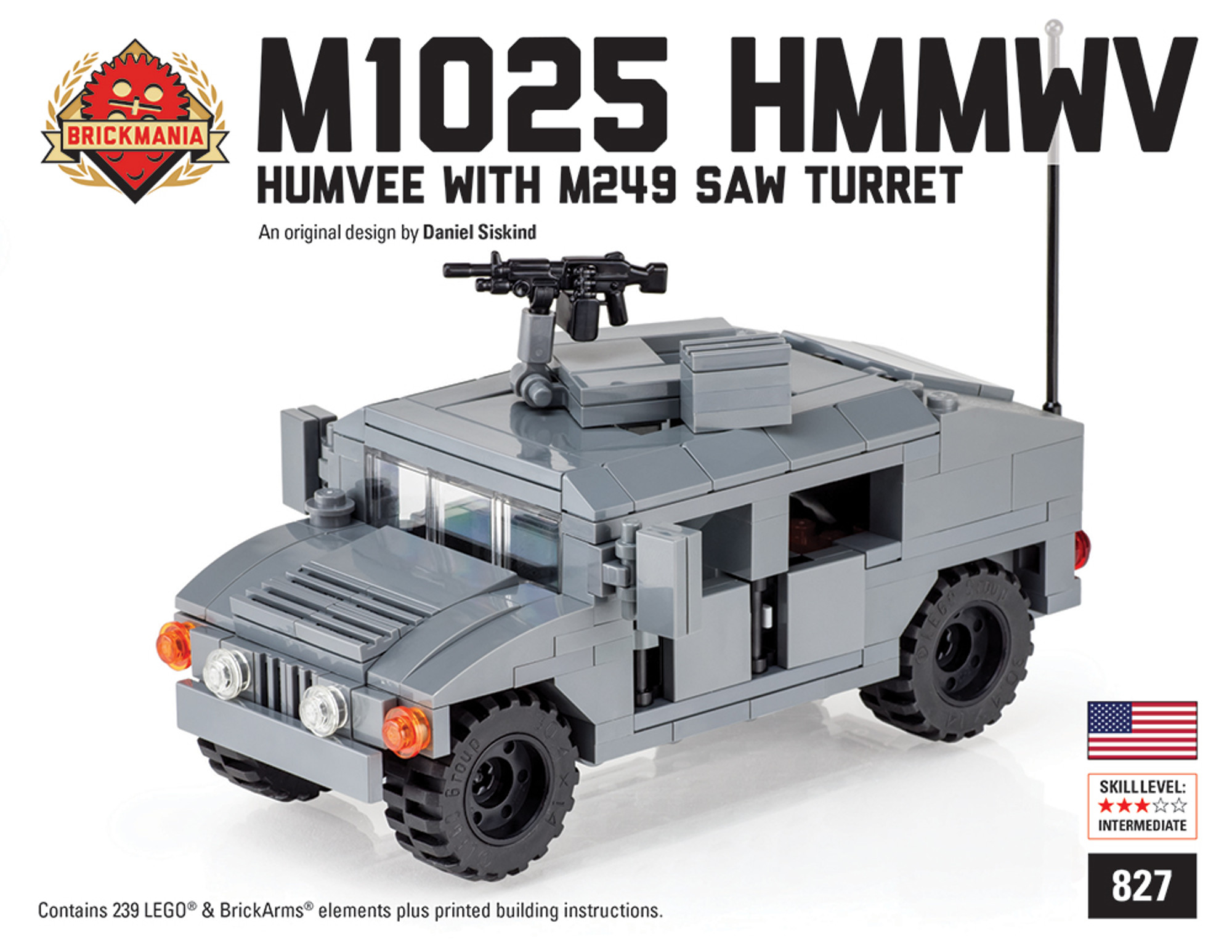 M1025 Hmmwv Humvee With M249 Saw Brickmania Toys