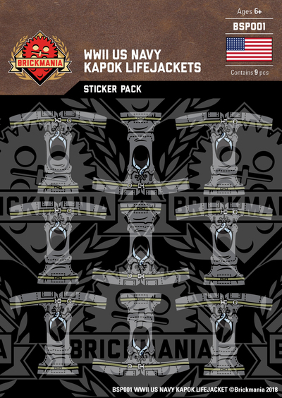 WWII US Navy Kapok Lifejackets Sticker Pack