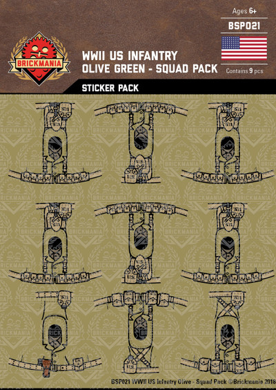 WWII US Infantry Olive Green - Squad Pack - Stickers