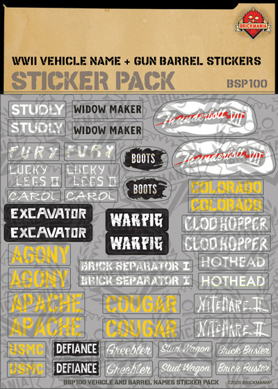 WWII Vehicle Name & Gun Barrel Print - Sticker Pack