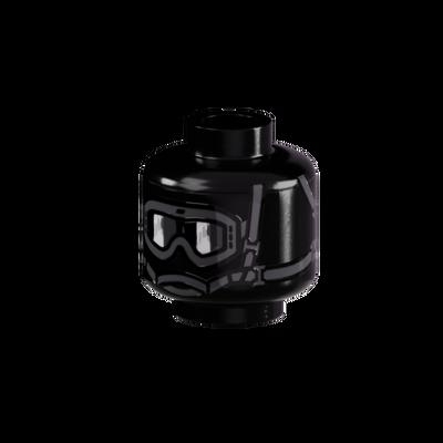 Minifig Head - Balaclava with Goggles 360° Print - Black