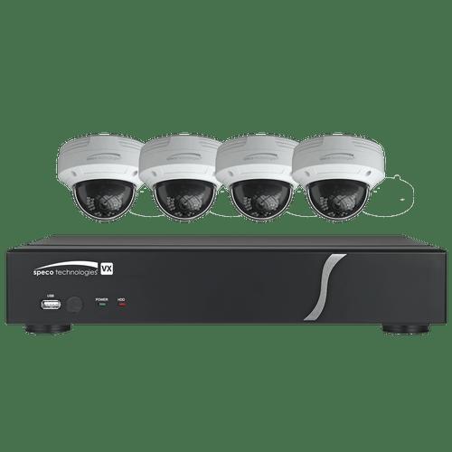 Speco Technologies ZIPT4D1 4CH HD-TVI DVR, 1080p, 60fps, 1TB w/ 4 Outdoor IR Dome Cameras 2.8mm lens, White (ZIPT4D1)