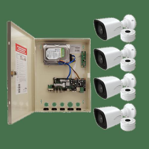 Speco Technologies ZIPTW4B1 4CH HD-TVI WALL MT DVR, 1080p, 60fps, 1TB w/ 4 Outdoor IR Bullet Cameras 2.8mm lens, White (ZIPTW4B1)
