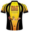 Primal Wear Fat Bastard Cycling Team Jersey Men's Short Sleeve Yellow Orange Black with DeFeet Socks