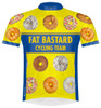 Primal Wear Fat Bastard Donuts Cycling Jersey Men's Short Sleeve Yellow and Blue with DeFeet Socks