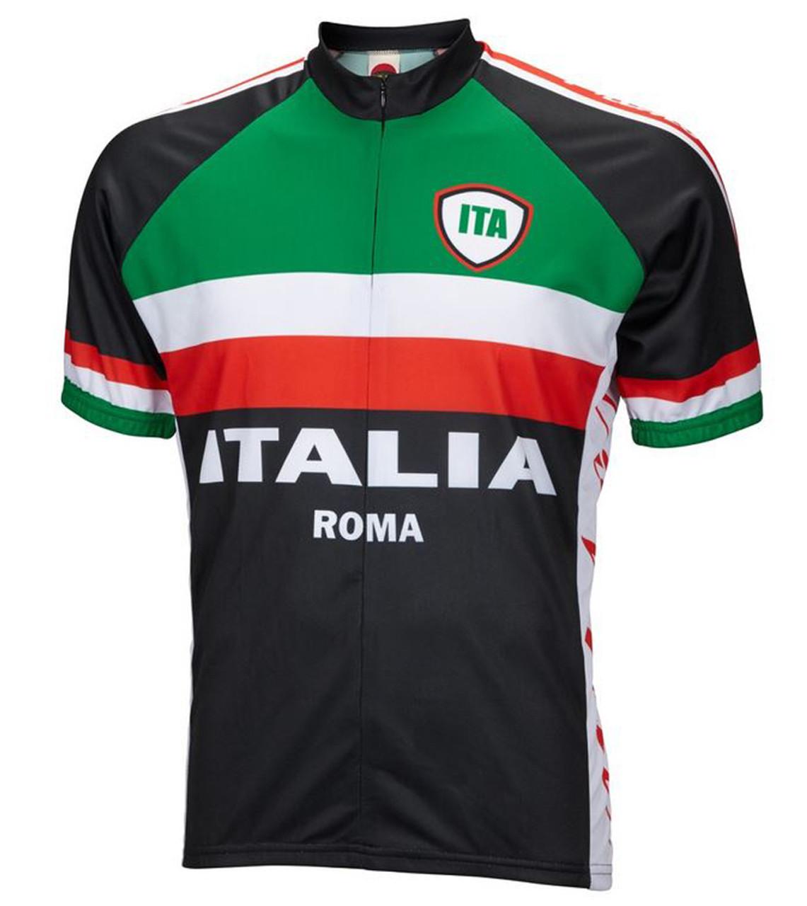 Italy Italia Roma Cycling Jersey by World Jerseys Men's Short Sleeve with DeFeet Socks