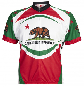 California Bear Cycling Jersey by World Jerseys Men's Short Sleeve plus DeFeet Socks