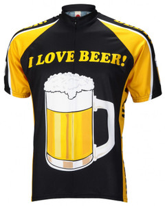 I Love Beer Cycling Jersey by World Jerseys Men's Short Sleeve Medium Size Only