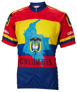 World Jerseys Colombia Cycling Jersey Mens Short Sleeve Free Shipping to Any U.S Address
